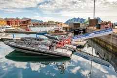 RIB-boats Moored At Svolvaer Harbor In Lofoten Stock Images