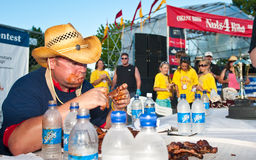 Rib eating contest for charity. Royalty Free Stock Photos