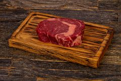 Rib Eye beef steak. Black Angus stock photo