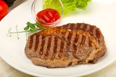 Rib Eye Steak Fotografering för Bildbyråer