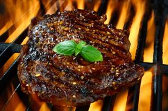 Rib Eye Steak bij de Vlammende Hete Grill Stock Fotografie