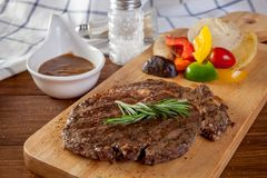 Rib eye steak. With black pepper sauce royalty free stock images
