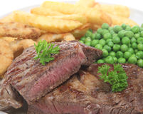 Rib-eye Steak & Chips Royalty Free Stock Images