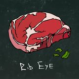 Rib Eye Steak Cut Vector Isolated On Chalkboard Background. Royalty Free Stock Photos