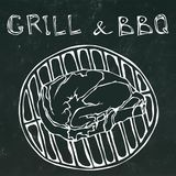 Rib Eye Steak on the Grill for Barbecue. Lettering Grill and BBQ. Realistic Doodle Cartoon Style Hand Drawn Sketch. Rib Eye Steak on the Grill for Barbecue Stock Photos