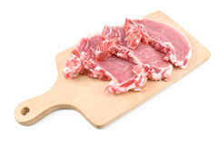 Rib eye steak meat on a cutting board Royalty Free Stock Photography