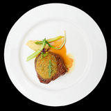 Rib eye steak with potato puree, isolated Royalty Free Stock Photos