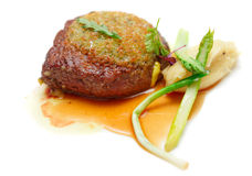 Rib eye steak with potato puree, isolated Stock Image