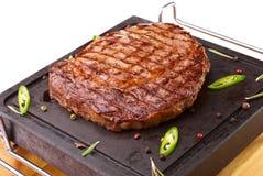 Rib-eye steak resting Stock Image