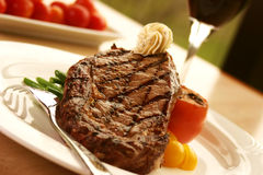 Free Rib Eye Steak Served With Wine Royalty Free Stock Photos - 189298