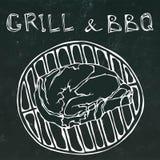Rib Eye Steak sur le gril pour le barbecue Gril de lettrage et BBQ Croquis tiré par la main de griffonnage de style réaliste de b illustration stock