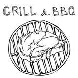 Rib Eye Steak sur le gril pour le barbecue Gril de lettrage et BBQ Vecteur tiré par la main Illustra de croquis de griffonnage de illustration libre de droits