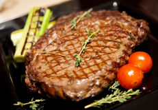 Rib eye steak with vegetables Royalty Free Stock Image