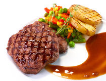 Rib-eye steak with vegetables Stock Photos