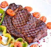 Rib Eye Steak on the white Plate Royalty Free Stock Image