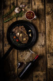 Rib eye steak with wine Royalty Free Stock Photo