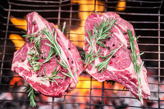Rib eye steaks and grill with burning fire. Rib eye steaks and grill with burning fire behind them Royalty Free Stock Images
