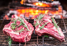 Rib eye steaks and grill with burning fire. Rib eye steaks and grill with burning fire behind them Royalty Free Stock Image