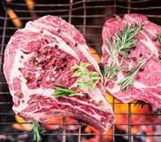 Rib eye steaks and grill. Rib eye steaks and grill with burning fire behind them Royalty Free Stock Images