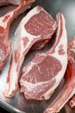 Rib lamb chops frying pan Royalty Free Stock Photography