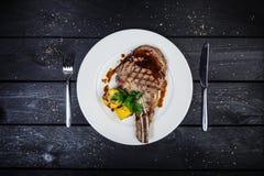 Rib-oog lapje vlees met graan Stock Fotografie