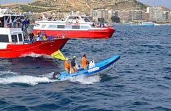 Race Officials Volvo Ocean Race Alicante 2017 royalty free stock photo