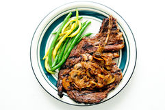 Rib steak with mushroom Royalty Free Stock Image