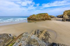 Beach of the Cathedrals. RIBADEO, GALICIA, SPAIN - SEPTEMBER 24, 2017: Beach of the Cathedrals Royalty Free Stock Images