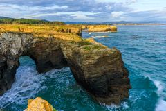 Beach of the Cathedrals. RIBADEO, GALICIA, SPAIN - SEPTEMBER 24, 2017: Beach of the Cathedrals Stock Images