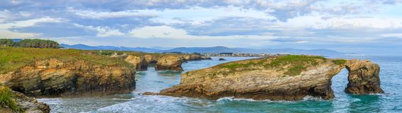 Beach of the Cathedrals. RIBADEO, GALICIA, SPAIN - SEPTEMBER 24, 2017: Beach of the Cathedrals Stock Photo
