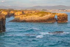 Beach of the Cathedrals. RIBADEO, GALICIA, SPAIN - SEPTEMBER 24, 2017: Beach of the Cathedrals Stock Photos