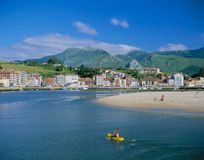 RIBADESELLA, ASTURIAS ,SPAIN. Ribadesella in Asturias on the Northern coast of Spain has long been quite a stylish resort, popular with holiday makers attracted stock photo