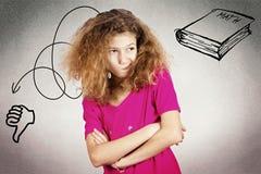 Ribaltamento, bambina scontrosa e infelice Fotografia Stock Libera da Diritti