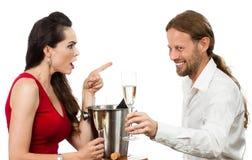 Ribaltamento della donna con il ragazzo di flirt fotografia stock libera da diritti