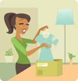Ribaltamento della donna da un pacchetto con le merci difettose illustrazione vettoriale