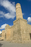 Ribat at Sousse. Tunisia. Sousse - medina (old town). Ribat (Aghlabid style) - southeast corner of exterior wall with a cylindrical watch tower Royalty Free Stock Photo