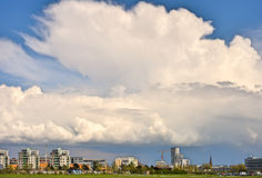 Ribban. Great anvil cloud over city skyline Stock Image