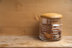 The ribbed bowl with sweet bisquit cookie-hearts Stock Photography