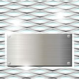 Ribbed glass with metal plate Royalty Free Stock Photo