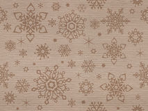 Ribbed kraft textured seamless pattern with christmas snowflakes Royalty Free Stock Image