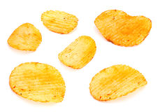 Ribbed potatoes set Royalty Free Stock Images