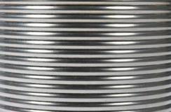 Ribbed Ridged Corrugated Steel Background. A tin can close up macro shot Ribbed Ridged Corrugated Steel Background Royalty Free Stock Photos