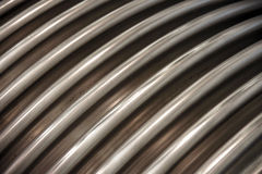 Ribbed surface of the metal tube Stock Images