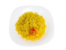 ribbed tomatwhite för maträtt pasta Arkivbild