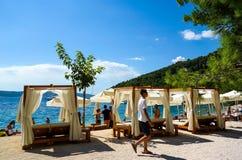 Ribben het strandmening 24 van Kroatië 08 2016 stock afbeeldingen