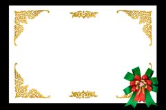 Ribbin bow on golden frame Royalty Free Stock Photo