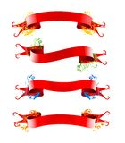 Ribbions, gift, red bow. Red ribbions with different colored floral design Stock Image