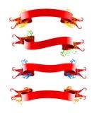 Ribbions, gift, rode boog Stock Afbeelding