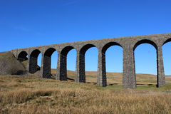 Ribblehead viaduct showing 7 arches and piers Royalty Free Stock Photography