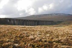 Ribblehead Viaduct und Hügel Stockbild